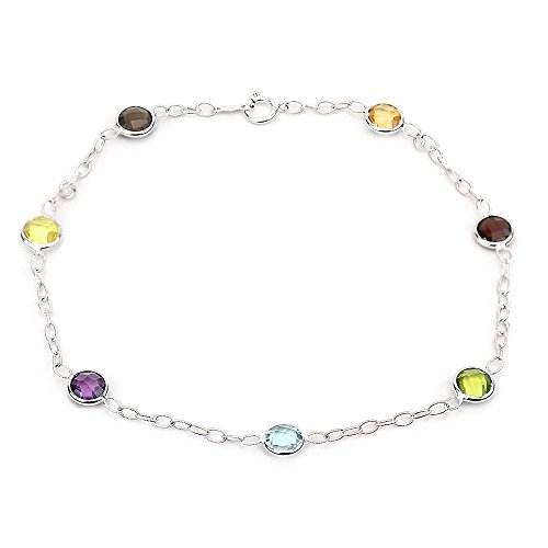 14k White Gold Gemstone Anklet Bracelet With Corrugated Link Chain 9- 11 Inches -