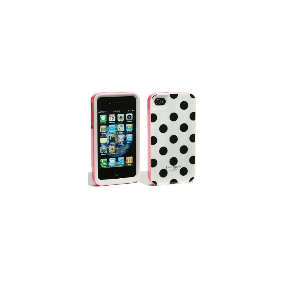 Accforcity Kate Spade White Large with Black Dots Case for Iphone 4 Cell Phones & Accessories