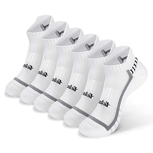 Runhit No Show Socks for Women & Men (6 Pairs Pack), White,Grey,Black Ankle Socks,Cushioned Low Cut Blister Resist Sports Tab Socks for Athletic,Running,Cycling,Hiking,Workout-and-Training