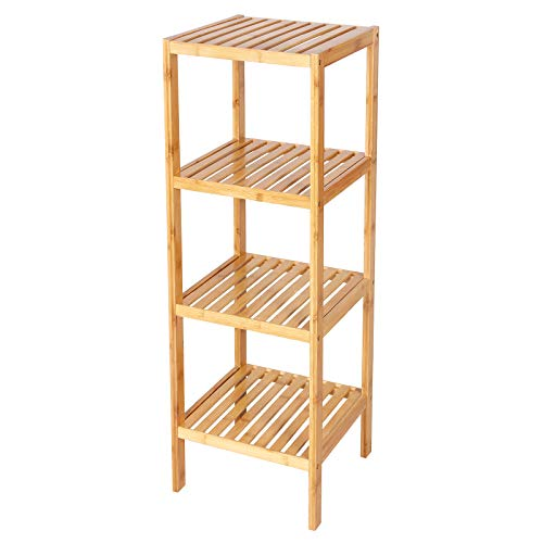 SONGMICS 100% Bamboo Bathroom Shelf 4Tier Multifunctional Storage Rack Shelving Unit 386#039#039 x 13#039#039 x 13#039#039 UBCB54Y