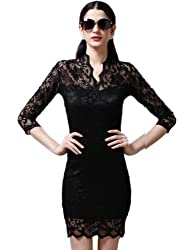 Maxchic Women's V-neck Stretch Mini Slim Lace Dress for Party Daily Clubwear C08374D13C,Black,Large