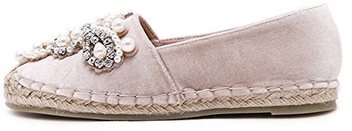 Showhow Womens Confortables Perles Strass Faux Daim Appartements Chaussures Rose