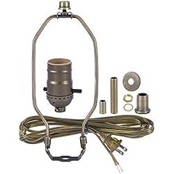 B&P Lamp Antique Brass Finish Table Lamp Wiring Kit With 8 Inch Harp, Push-Thru Socket