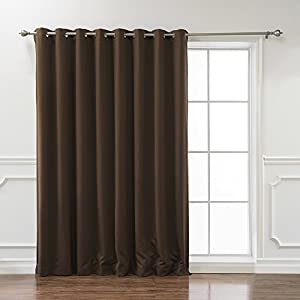 "Best Home Fashion Wide Width Thermal Insulated Blackout Curtain - Antique Bronze Grommet Top - Chocolate - 100""W x 84""L - (1 Panel)"
