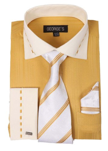 George's Two-tone Shirts w/ Matching Tie, Hanky & French Cuffs AH621-Gold-16-16 1/2-36-37 (Shirts Mens Two Cuff French Tone)