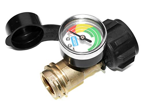 ANCOZY Propane Tank Gauge Level Indicator Leak Detector Gas Pressure Meter Color Coded Universal for Cylinder, BBQ Gas Grill, RV Camper, Heater and More Appliances-Type 1 Connection (Gas Gauge For Propane Tank)