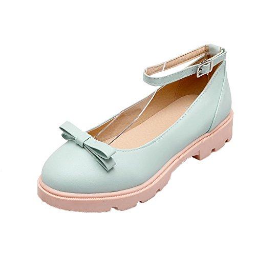 AgooLar Damen PU Gemischte Farbe Schnalle Quadratisch Zehe Pumps Schuhe, Blau, 41