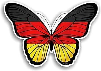Schöner Schmetterling Mit Deutscher Deutschland Land Flaggen Design Vinyl Auto Aufkleber Abziehbild 130x90mm Ca Auto