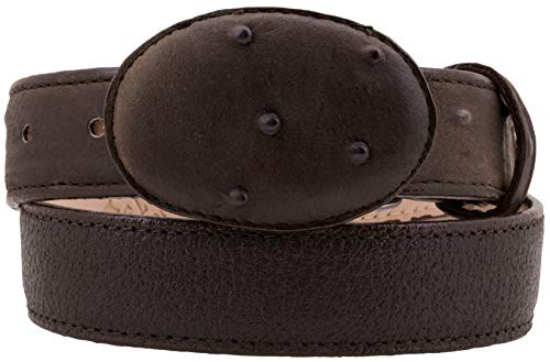El Presidente - Kid's Toddler Brown Ostrich Print Overlay Leather Belt Round Buckle 30