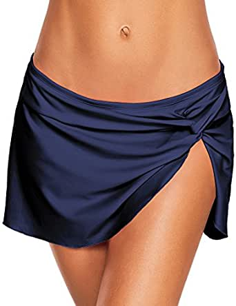 ACKKIA Women's Navy Blue Swim Skirt Bikini Bottom Side Slit Knot Skirted Swimsuit Bathing Suit Size S(US 4-6)