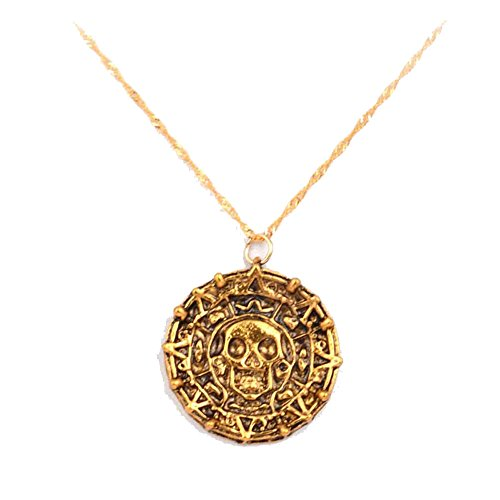 Danald Fashion Handcrafted Alloy Steampunk Pirates Of The Caribbean Cursed Aztec Coin Medallion Necklace Skull Pirate Coin Necklace Pendant (Vintage Skull Coin-Bronze)