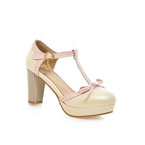 Balamasa Flickor Kick-häl Metall Bowknot Mjuk Material Pumpar-shoes Beige
