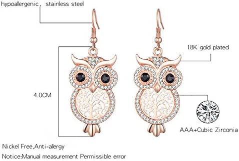 Dangle boucle doreille pour les femmes Lucky Owl Drop Earring Rose or ou argent boucle doreille strass boucle doreille avec cristal