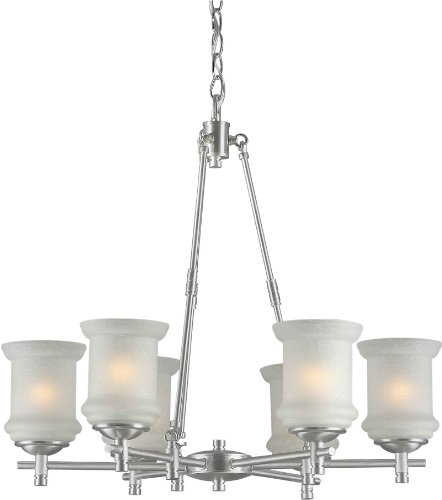 "Forte Lighting 2180-06-55 Chandelier with White Linen Glass Shades, 25"" x 26"" x 25"", Brushed Nickel"