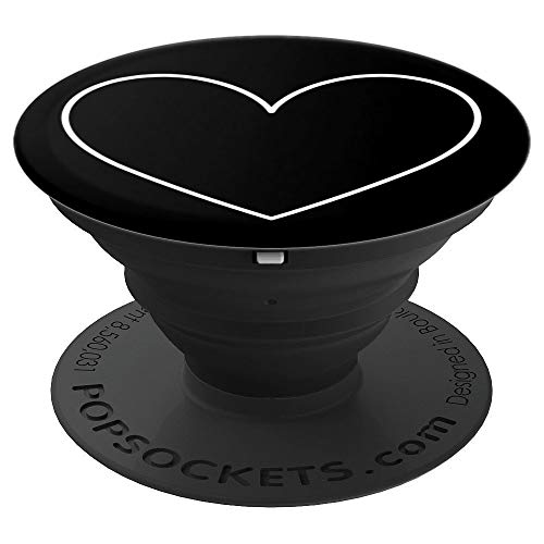Black White Heart Valentines Day Pop Socket - PopSockets Grip and Stand for Phones and Tablets ()