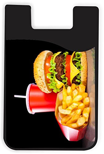 Rikki Knight Burgers and Coke Design Silicone Phone Card Holder Wallet for iPhone/Galaxy All Android Smartphones - with Removable Soft Microfiber Screen ()
