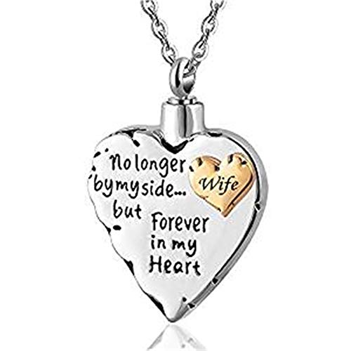 - Double Heart No Longer by My Side .Memorial Keepsake Locket Ashes Urn Necklace for Mom&Dad&Grandpa&Grandma&Uncle&Aunt Cremation Jewelry (Wife)