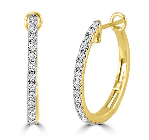 1/2ct Round Diamond 14k Yellow Gold Prong-Set Hinged Hoop/Huggie (1/2 Ct Diamond Huggie Earrings)
