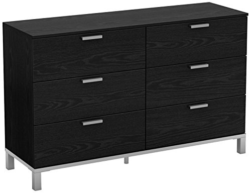 South Shore Flexible Collection 6-Drawer Double Dresser, Brown Oak with Matte Grey Handles -  - dressers-bedroom-furniture, bedroom-furniture, bedroom - 41fOG0TMzlL -