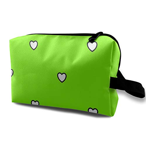 White Black Color Love Heart Chartreuse Green Color Background Polka Dot Pattern_1383 Toiletry Bag Cosmetic Bag Portable Makeup Pouch Travel Hanging Organizer Bag For Women girl 10x5x6.2 inch
