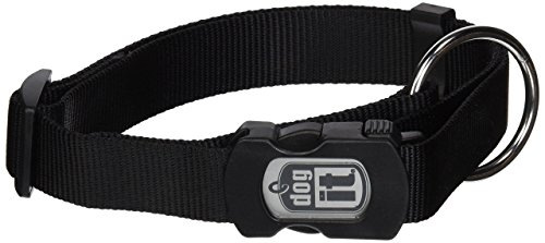 Dogit Nylon Adjustable Single Ply Dog Collar with Plastic Snap, X-Large, 1-Inch, Black
