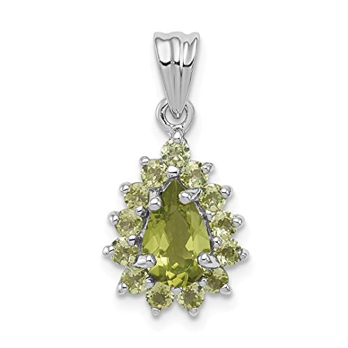 925 Sterling Silver Green Peridot Pear Shaped Pendant Charm Necklace Gemstone Fine Jewelry For Women Gift Set