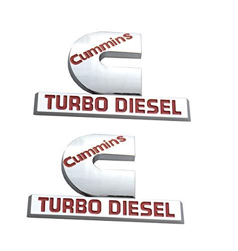 2 Pack Cummins Turbo Diesel Emblems, Badges High Output Nameplate Small Size Replacement Sticker for Dodge RAM 2500 3500 Fender Emblem Mopar (Chrome Red)