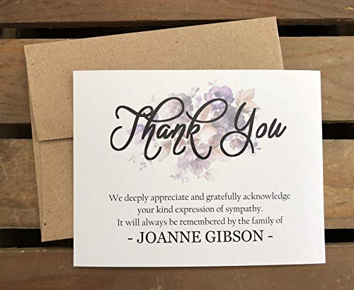 Personalized Funeral Acknowledgement Cards - Floral Purple - Sympathy Thank You Bereavement Note Cards - Eco Friendly