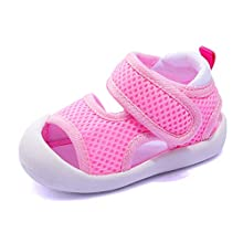 Boys Girls Athletic Sports Sandals Open-Toe Breathable Rubber Sole Beach Water Shoes for Toddler (5-Pink, 4)