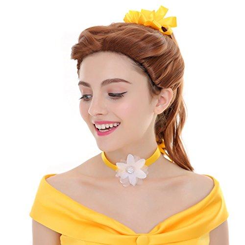 [Angelaicos Women's Prestyled Cosplay Costume Party Wig Medium Brown] (Belle Wigs)