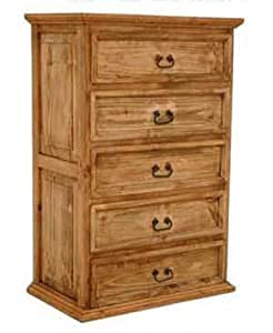 5 Drawer Chest Of Drawers Western Rustic Real Wood Tall Dresser Kitchen Dining