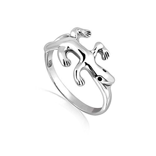 (Chuvora Rhodium Plated 925 Sterling Silver Gecko Lizard Ring, Size 7)