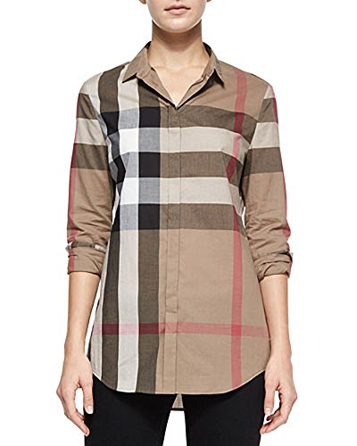 Burberry Women Shirt (BURBERRY Brit Check Pattern Cotton Women's Shirt (X-Large))