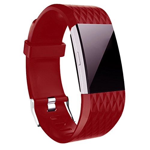 Wishesport For Fitbit Charge 2 Bands Special edition Replacement Bands Accessory Sport Bands Strap for Charge 2 HR Fitness Diamond S Red