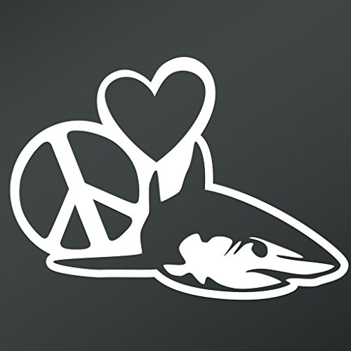(Peace Love Shark Vinyl Decal Sticker | Cars Trucks Vans Walls Laptops Cups | White | 5.5 X 4 Inch | KCD1674)