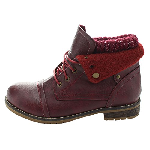 Wine 02 Sweater Up Nature Lace Boots Women's Fold Combat Breeze Over Casual PAEwwq5B