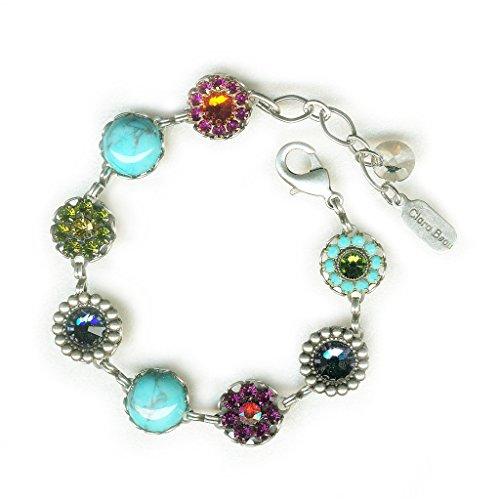 (Clara Beau Radiant Spring Multicolor Swarovski crystal SilverTone Filigree Cluster Bracelet BF156)