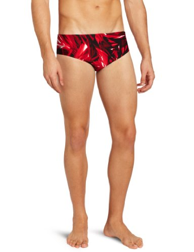 Speedo Men's Xtra Life Lycra Vortex Splice Brief Swimsuit, Red, 30