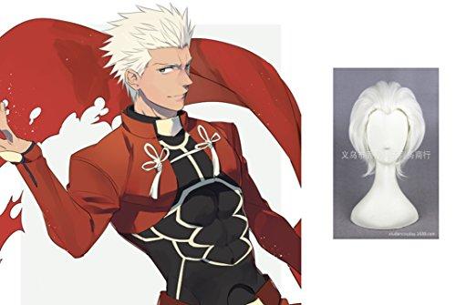 MOOI Fate/Zero Fate/Stay Night Archer Short Straight Wig Cosplay Costume Wig ( White )