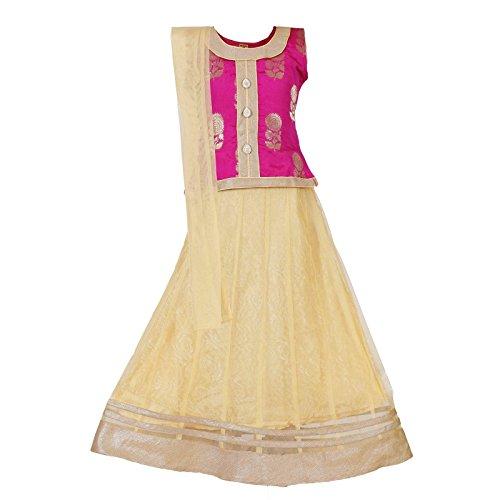 Choli Set - Ashwini Girls Netted Embroidery Pink Lehenga Choli Set
