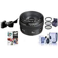 Canon EF 50mm f/1.4 USM Standard AutoFocus Lens Kit, USA - Bundle with 58mm Filter Kit, Lens Cap Leash, Professional Lens Cleaning Kit, Special Professional Software Package