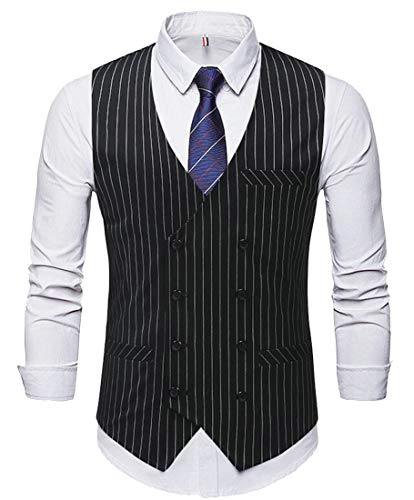 XQS Men Pinstripe Slim Fit Double-Breasted Business Dress Vests Waistcoats Black S