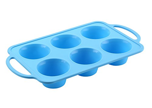 Genuine TRENDS home, Premium 6 Cup Silicone Cake Pan, Silicone Muffin Pan with Patented reinforced Stainless Steel Edge for durability and strength. Made from FDA Approved Silicone. by Trends