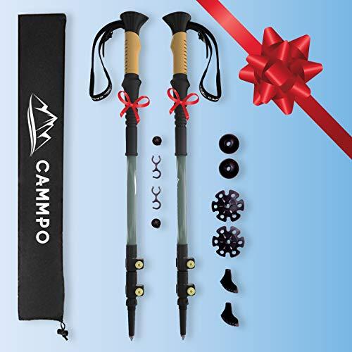 CAMMPO Trekking Poles Collapsible - Hiking Poles - Lightweight Aluminum 7075 - Walking Sticks (2-pc) w/Tungsten Tip, Flip-Lock System & Cork Grip