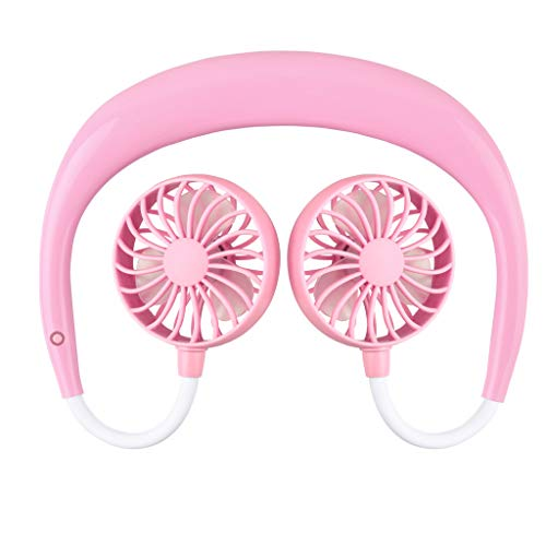 Unionm USB Fan, USB Rechargeable Outdoor Sports Fan Mini Silent Hanging Neck Lazy Wearable Fan Personal Desk Small Mobile Portable Fan for Computer Laptop Home Outdoor Indoor Travel (Pink)