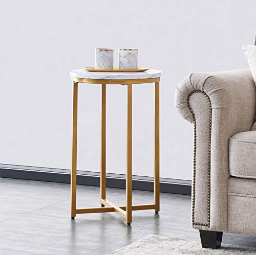 Gynsseh Side Table, Marble End Table, Modern Round Accent Table for Small Spaces, Decorative Displaying Coffee Table for Bedroom Living Room, Marble Top & X-Shaped Base (Gold)