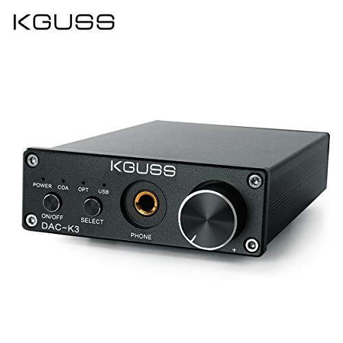 KGUSS DAC-K3 TPA6120 2.0 Mini HiFi Optical/Coaxial/USB DAC Decoder Audio Headphone Amplifier Desktop Amplifier 24BIT 192KHz OPA2134 AMP DC12V US Plug (Black)