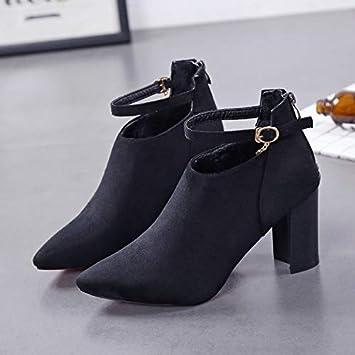 Yukun zapatos de tacón alto Botines para Mujer Otoño E Invierno Gamuza Mate Grueso con Anillo De Pie Botas De Hebilla para Mujer Botines Negros: Amazon.es: ...