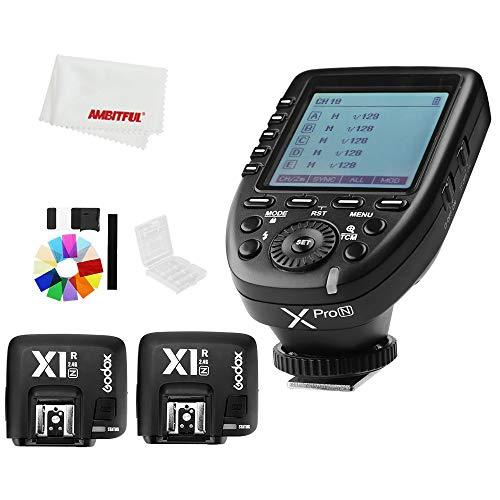 Godox Xpro-N i-TTL II 2.4G X System Wireless Control Remote Trigger with 2X X1R-N Controller Receiver Compatble for Nikon Flash