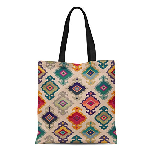 Wool Tibetan Handbag - Semtomn Canvas Tote Bag Colorful Turkish Oriental Carpet Antique Ethnic Floral Geometric Mongolian Durable Reusable Shopping Shoulder Grocery Bag